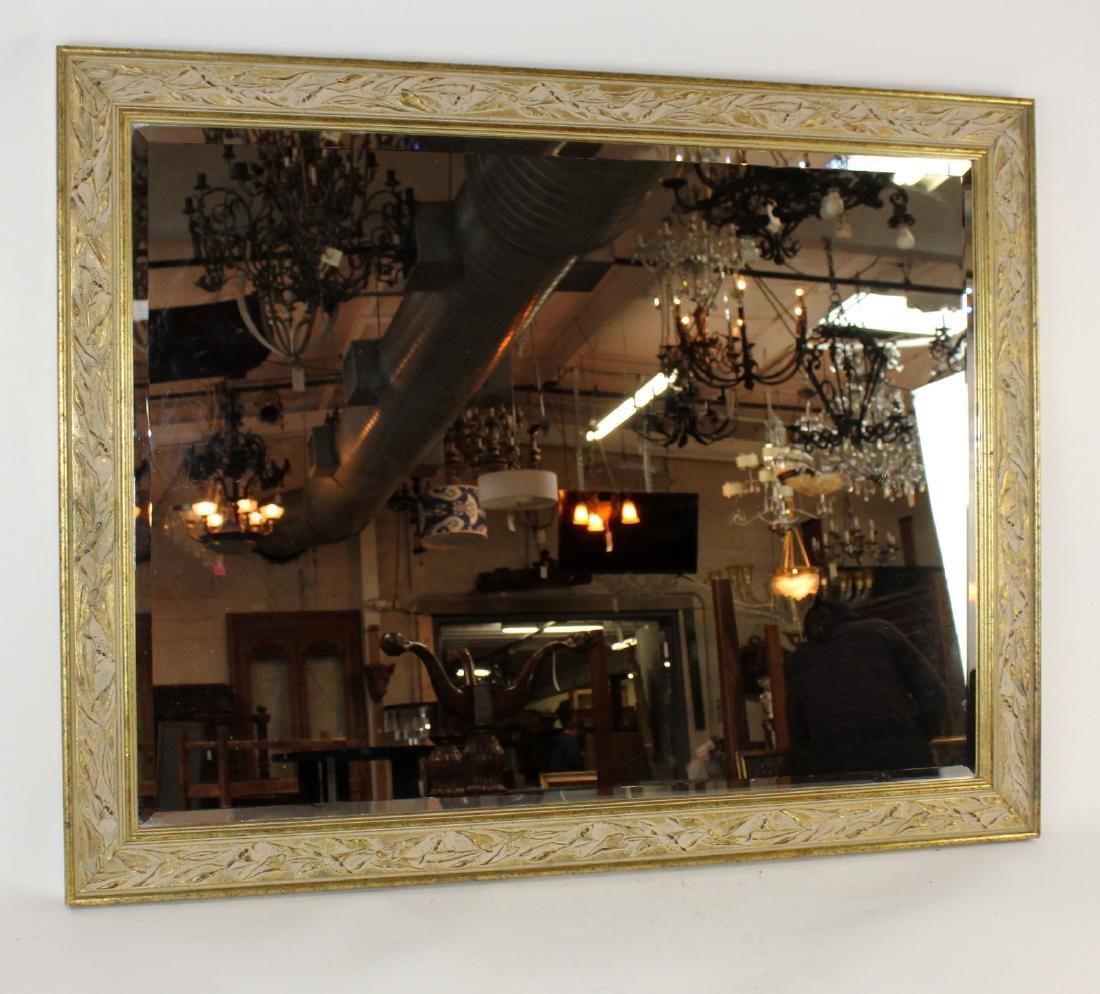 Whitewashed framed beveled mirror - 4