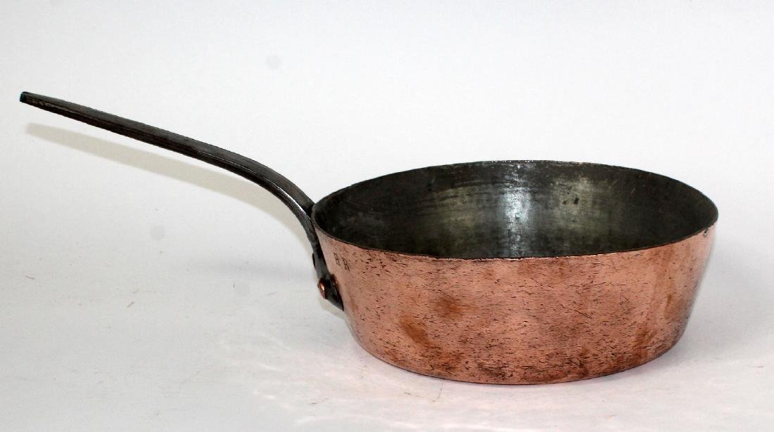 Antique French Gaillard copper pan with iron handle
