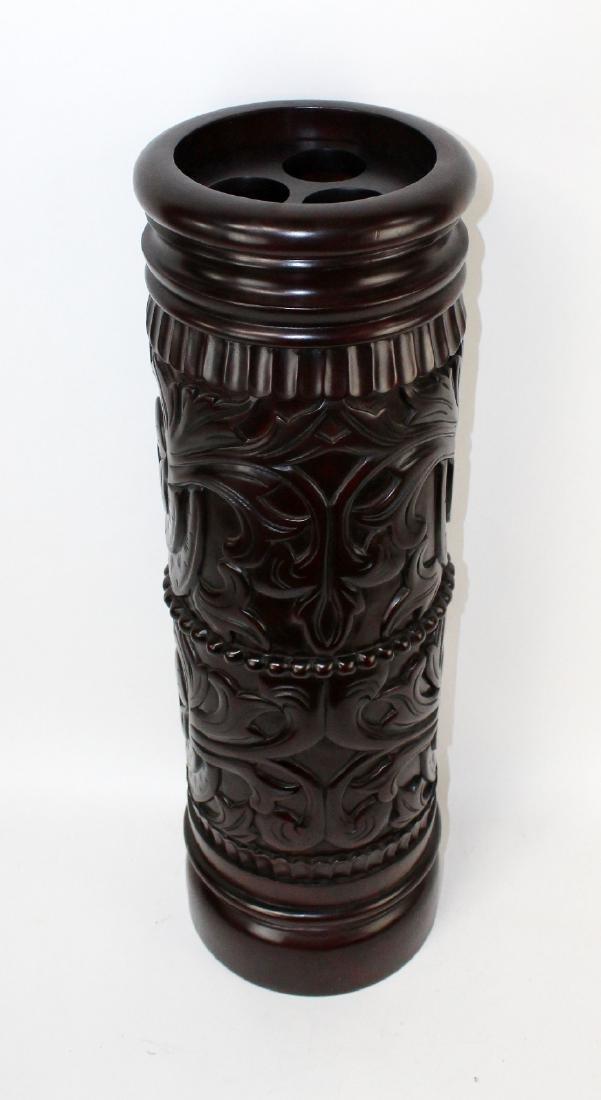 Carved mahogany umbrella stand - 4