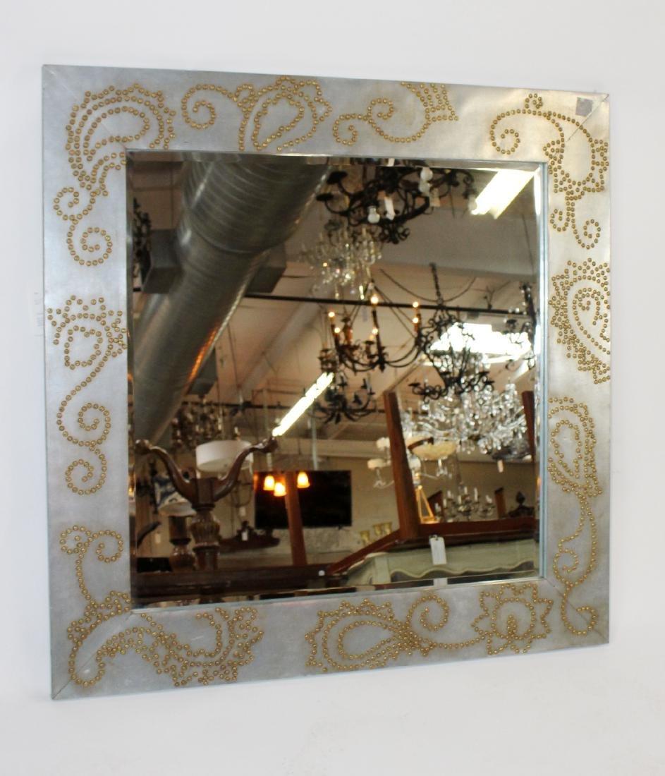 Zinc framed mirror with rivet decoration