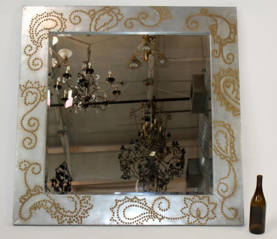 Zinc framed mirror with rivet decoration - 2