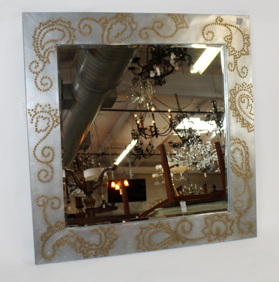 Zinc framed mirror with rivet decoration - 4