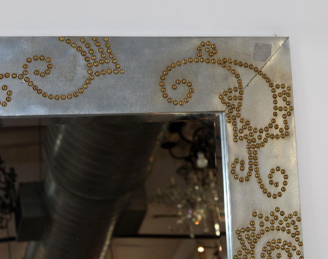 Zinc framed mirror with rivet decoration - 5