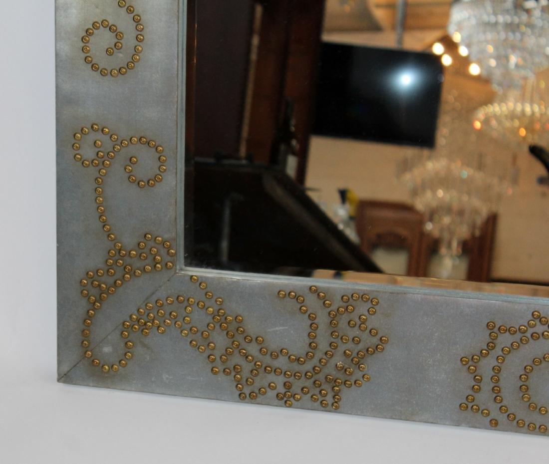 Zinc framed mirror with rivet decoration - 6