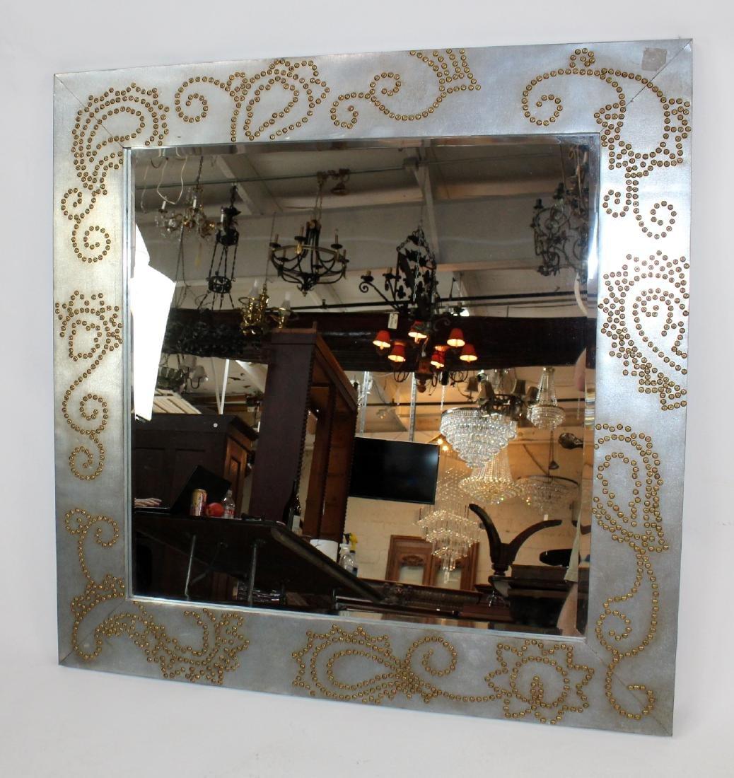 Zinc framed mirror with rivet decoration - 7