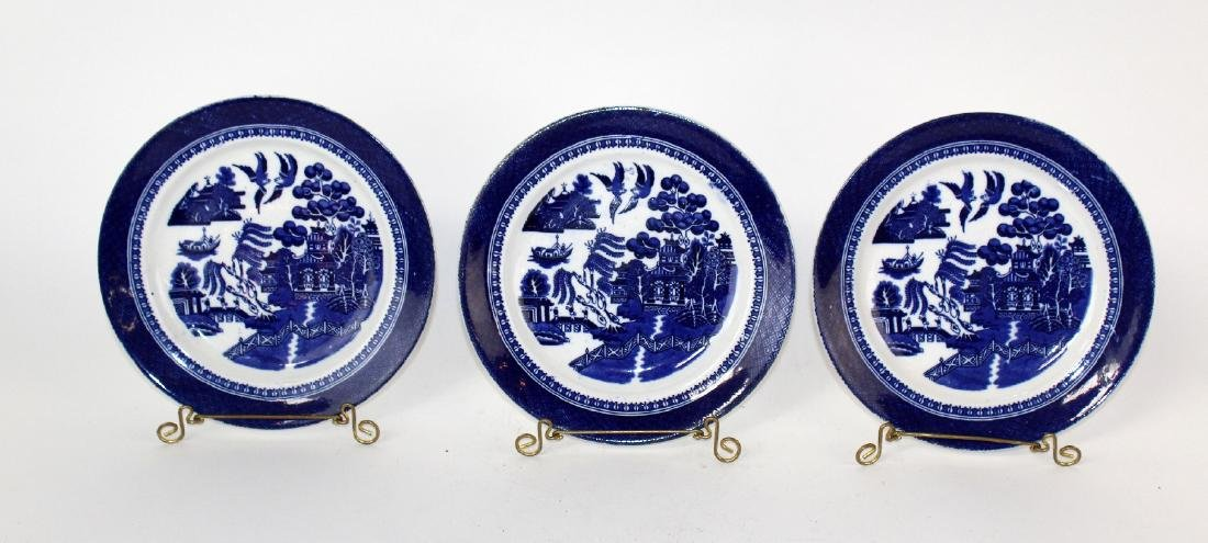 Lot of 3 Fenton Blue Willow plates