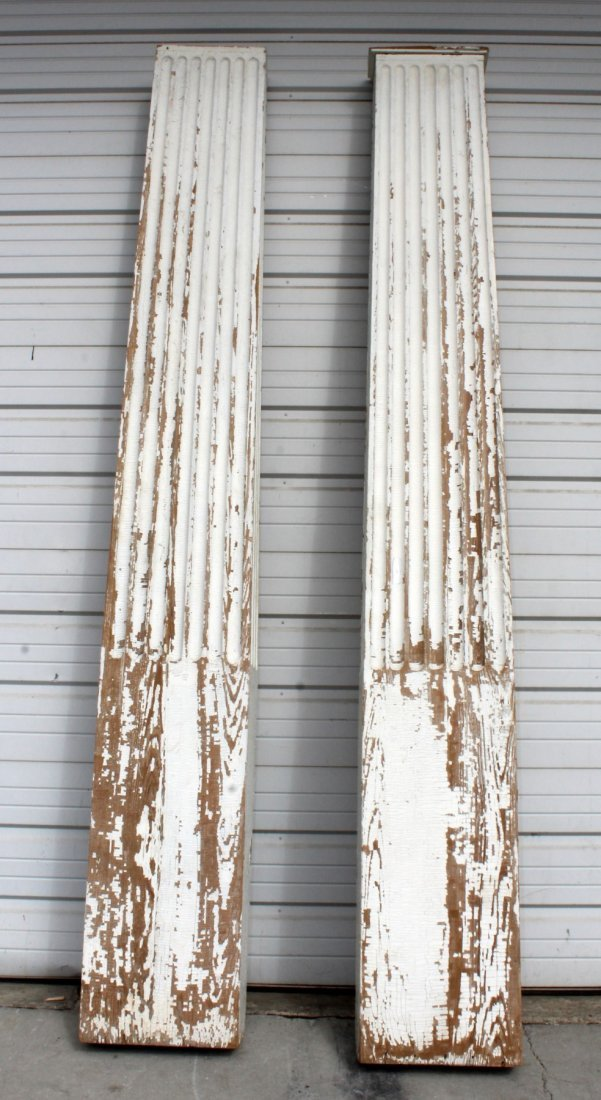 Pair of painted fluted pilasters
