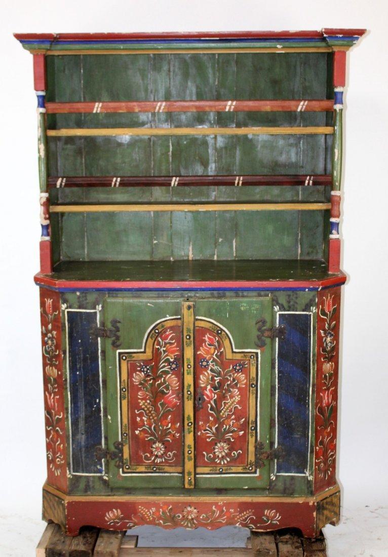 Eastern European Folk Art painted pine hutch - 2