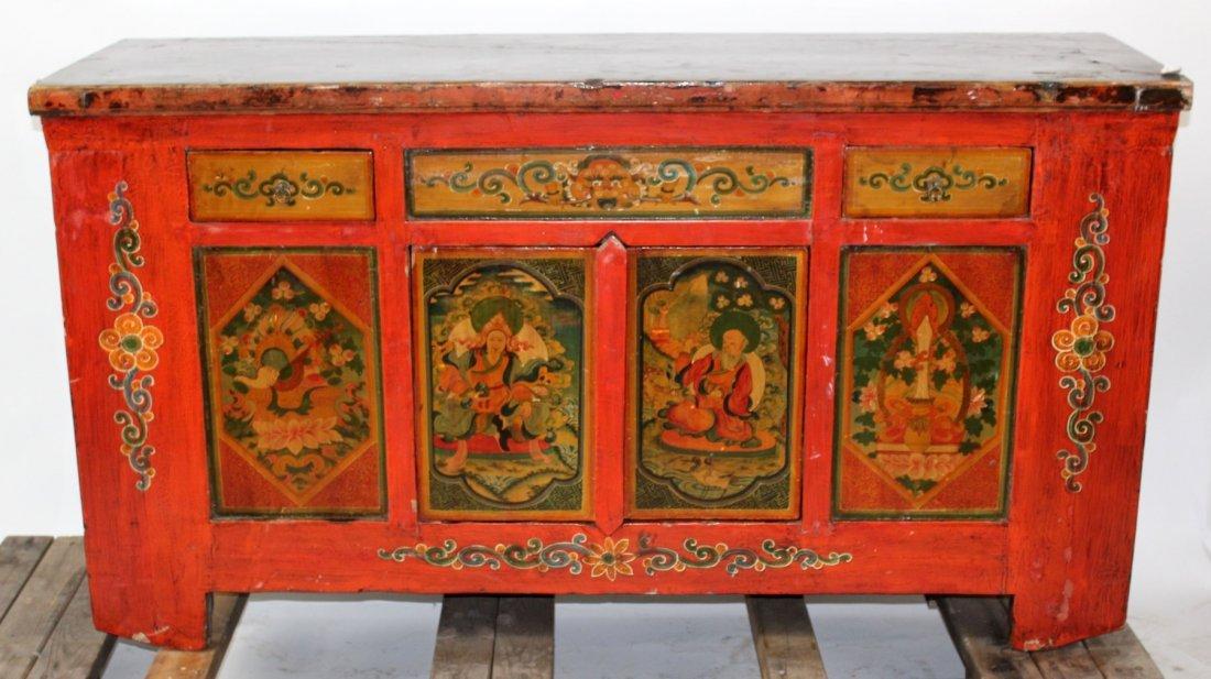 Tibetan floral painted sideboard
