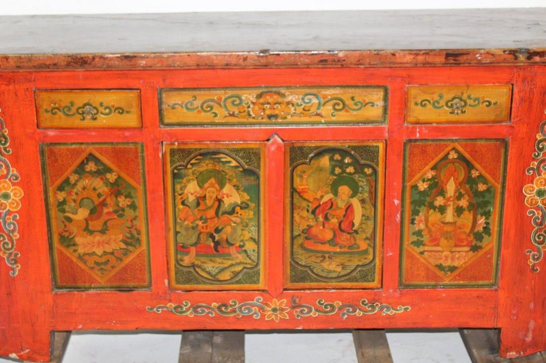 Tibetan floral painted sideboard - 2