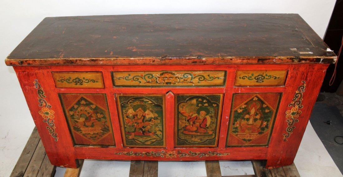 Tibetan floral painted sideboard - 3