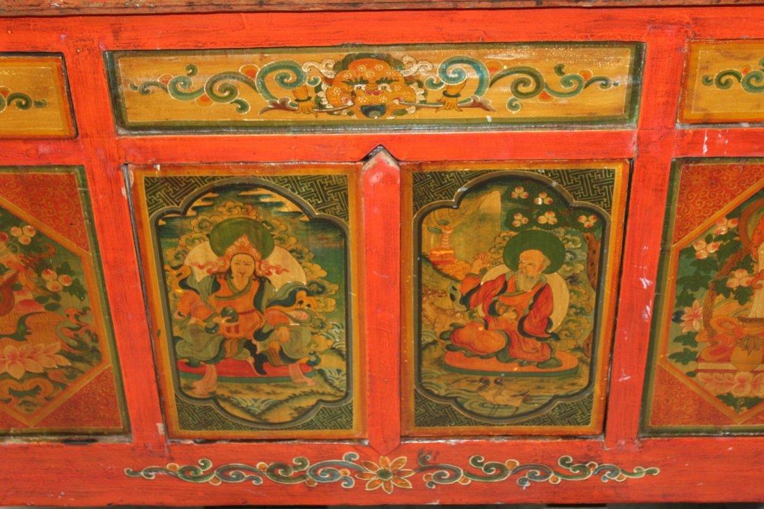 Tibetan floral painted sideboard - 4