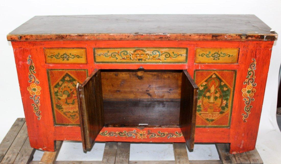 Tibetan floral painted sideboard - 5