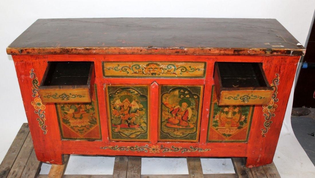 Tibetan floral painted sideboard - 6