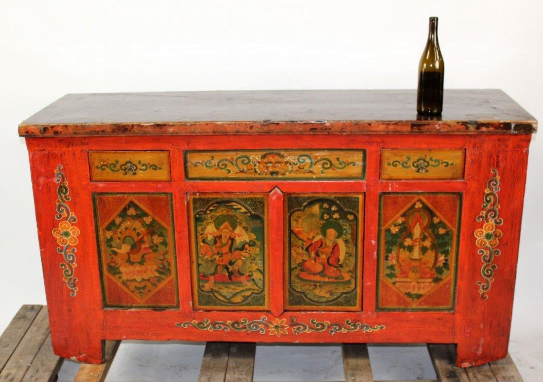 Tibetan floral painted sideboard - 7