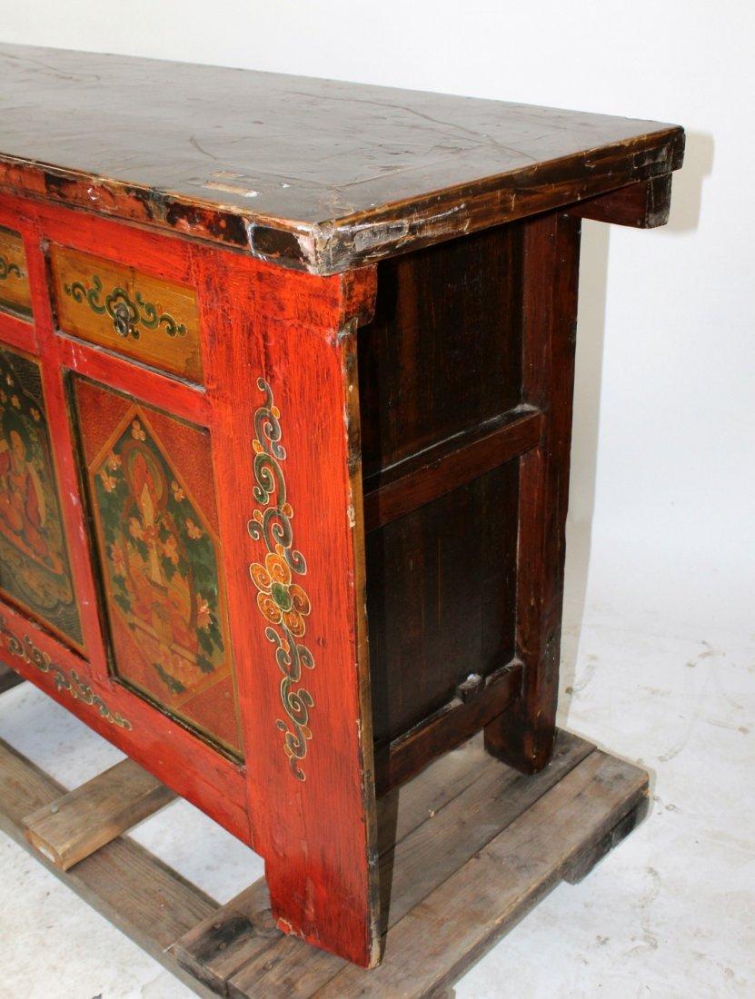 Tibetan floral painted sideboard - 8