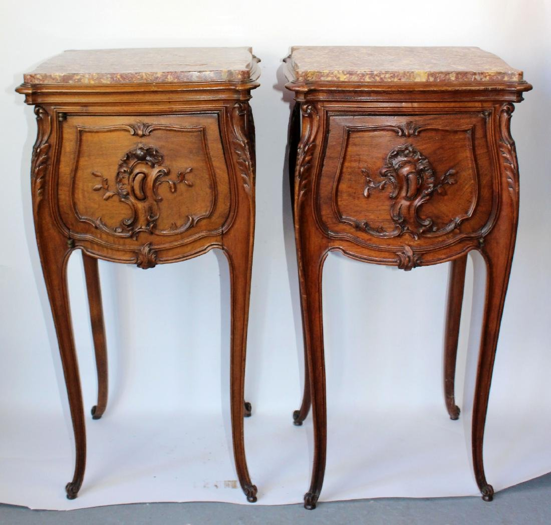 Pair of French Louis XV chevets in walnut
