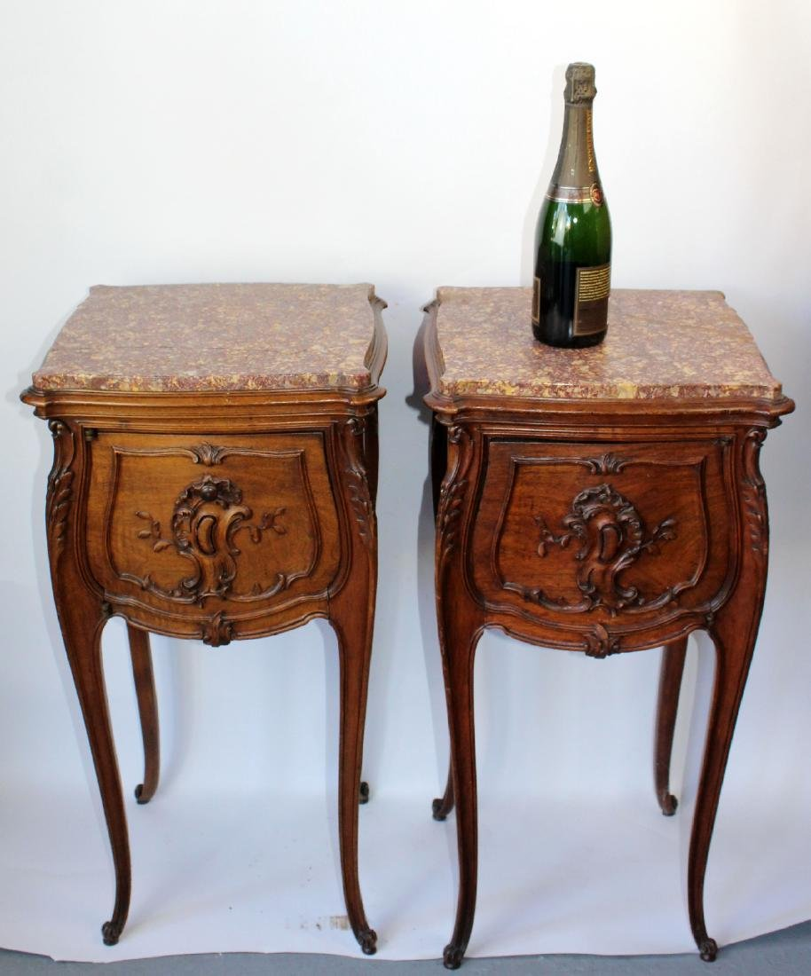 Pair of French Louis XV chevets in walnut - 2