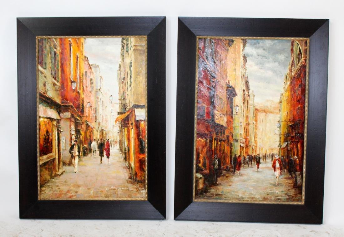Companion pair of oil on canvas Paris scenes