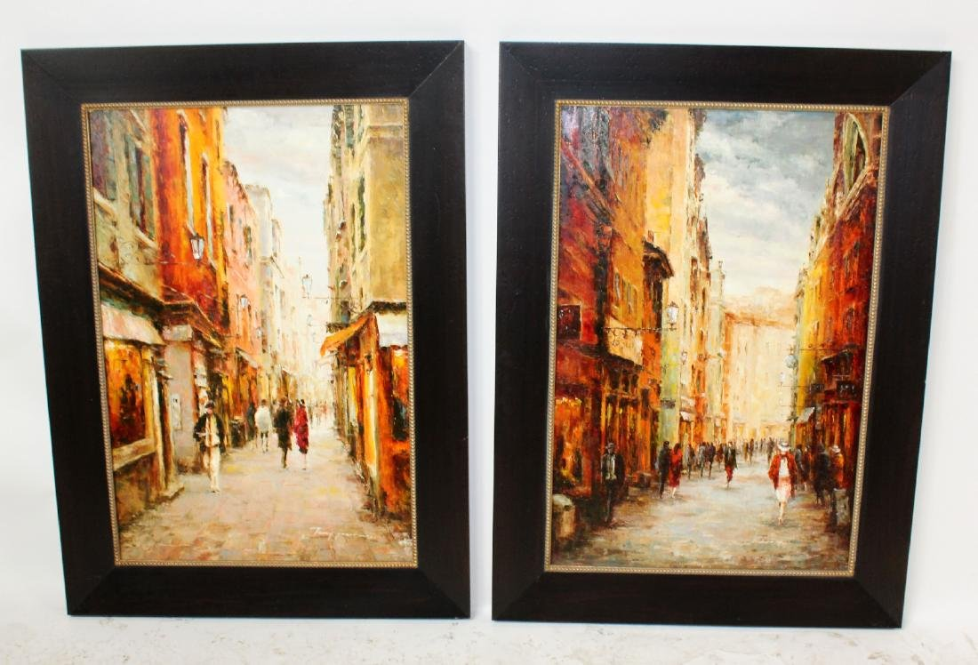 Companion pair of oil on canvas Paris scenes - 3