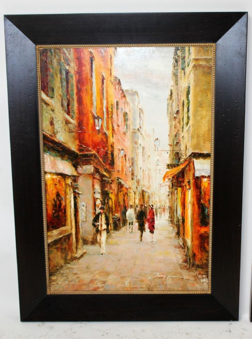 Companion pair of oil on canvas Paris scenes - 4
