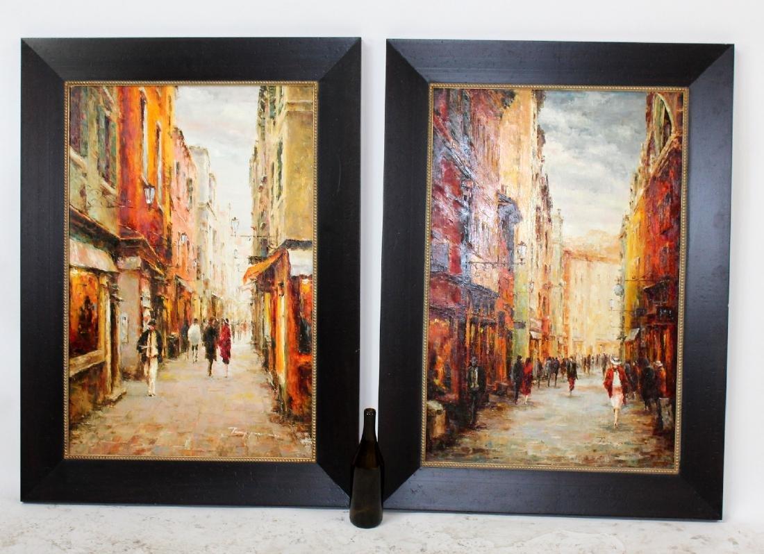 Companion pair of oil on canvas Paris scenes - 7