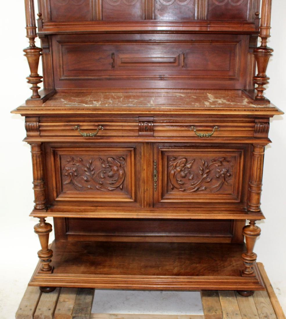 French Mannerist server in walnut with marble top - 3