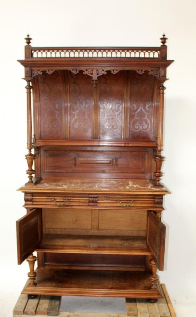 French Mannerist server in walnut with marble top - 6