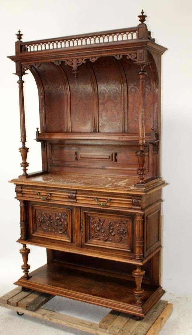French Mannerist server in walnut with marble top - 7
