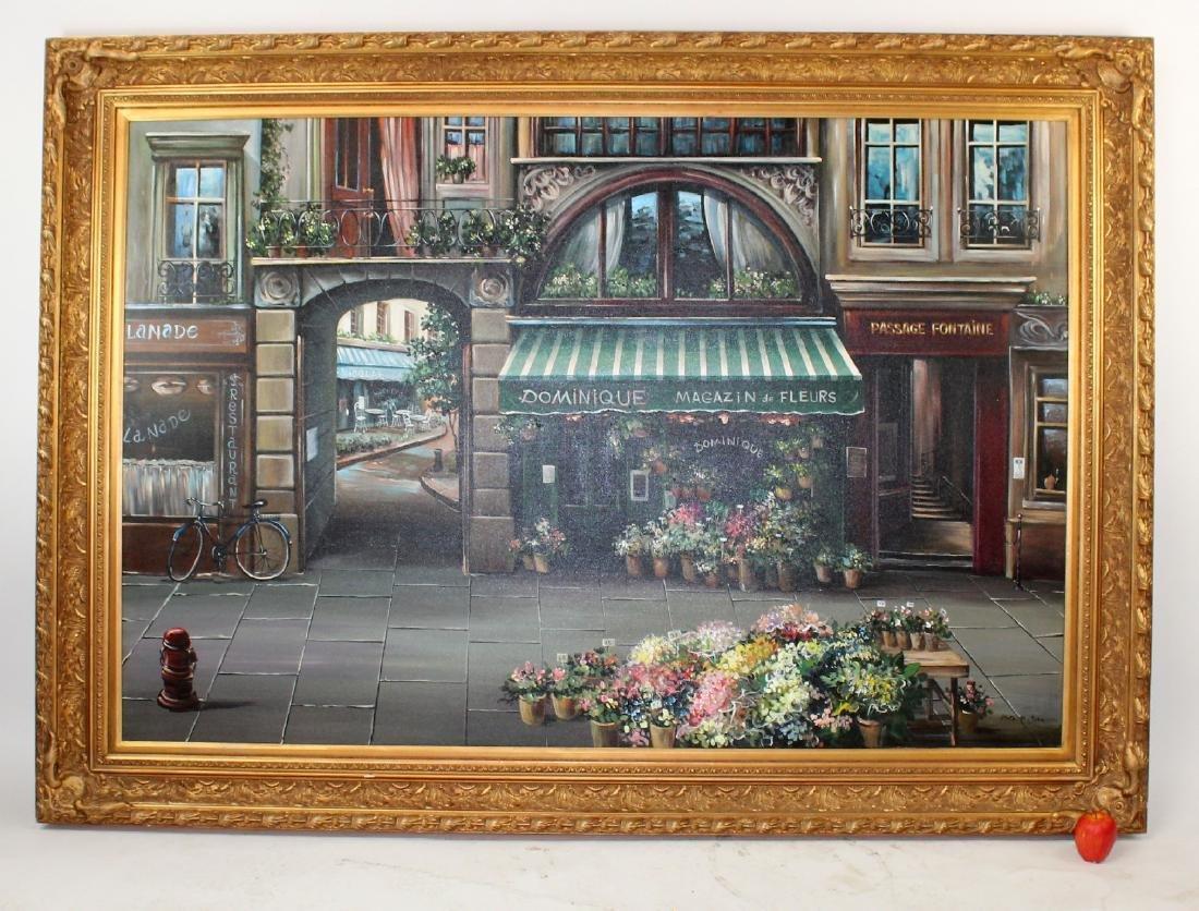 Grand scale oil on canvas Paris street scene