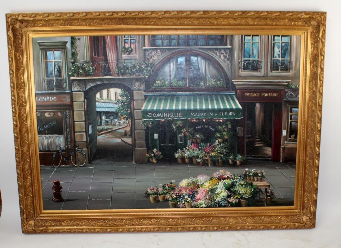 Grand scale oil on canvas Paris street scene - 2