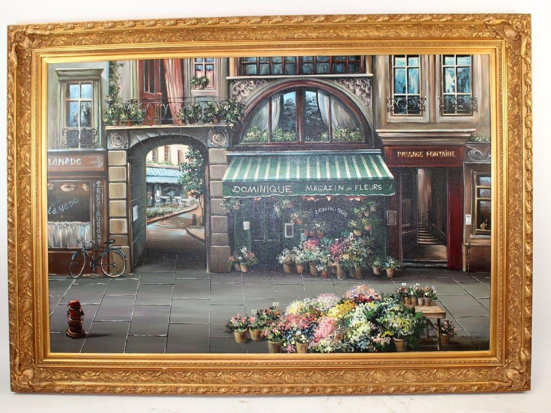 Grand scale oil on canvas Paris street scene - 5