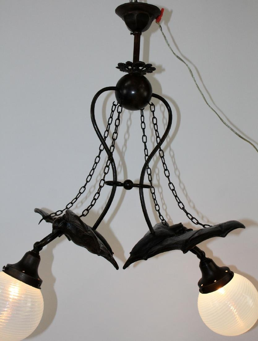 Bronze double Bat light with art glass shades - 4