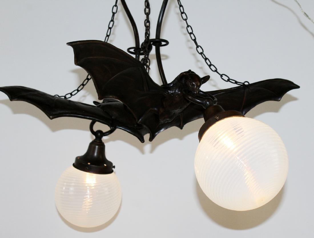 Bronze double Bat light with art glass shades - 5