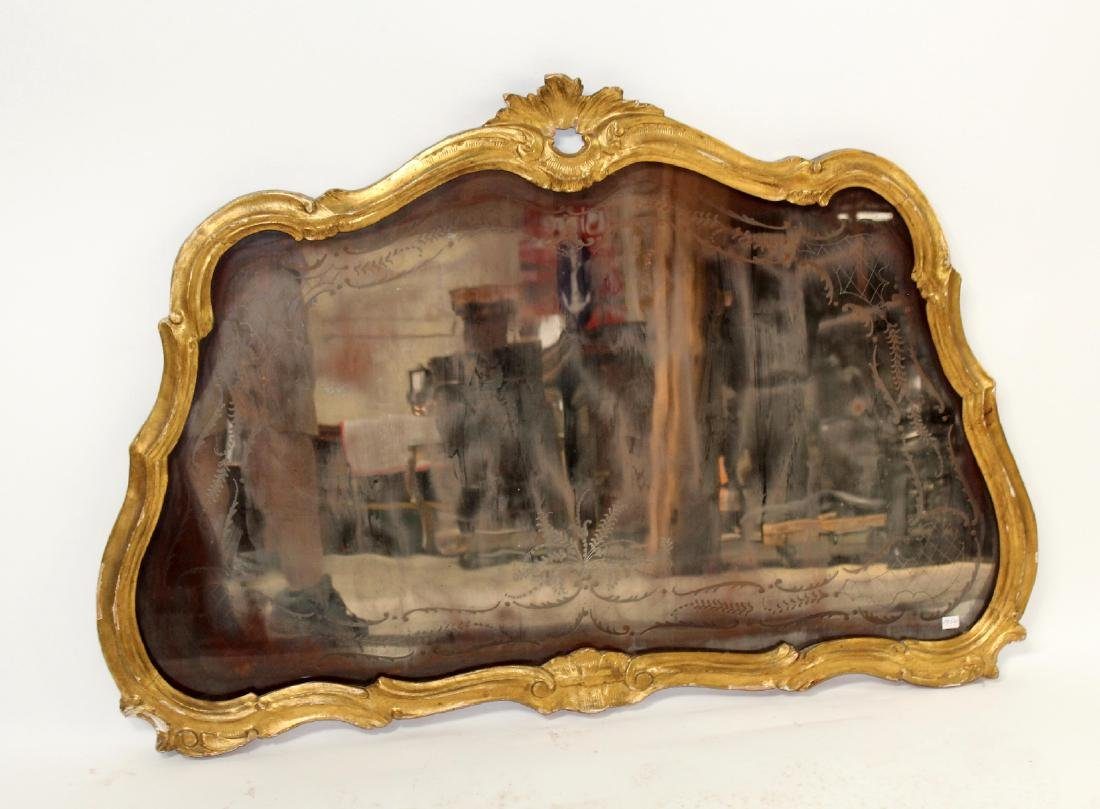 French Louis XV gilt framed etched mirror