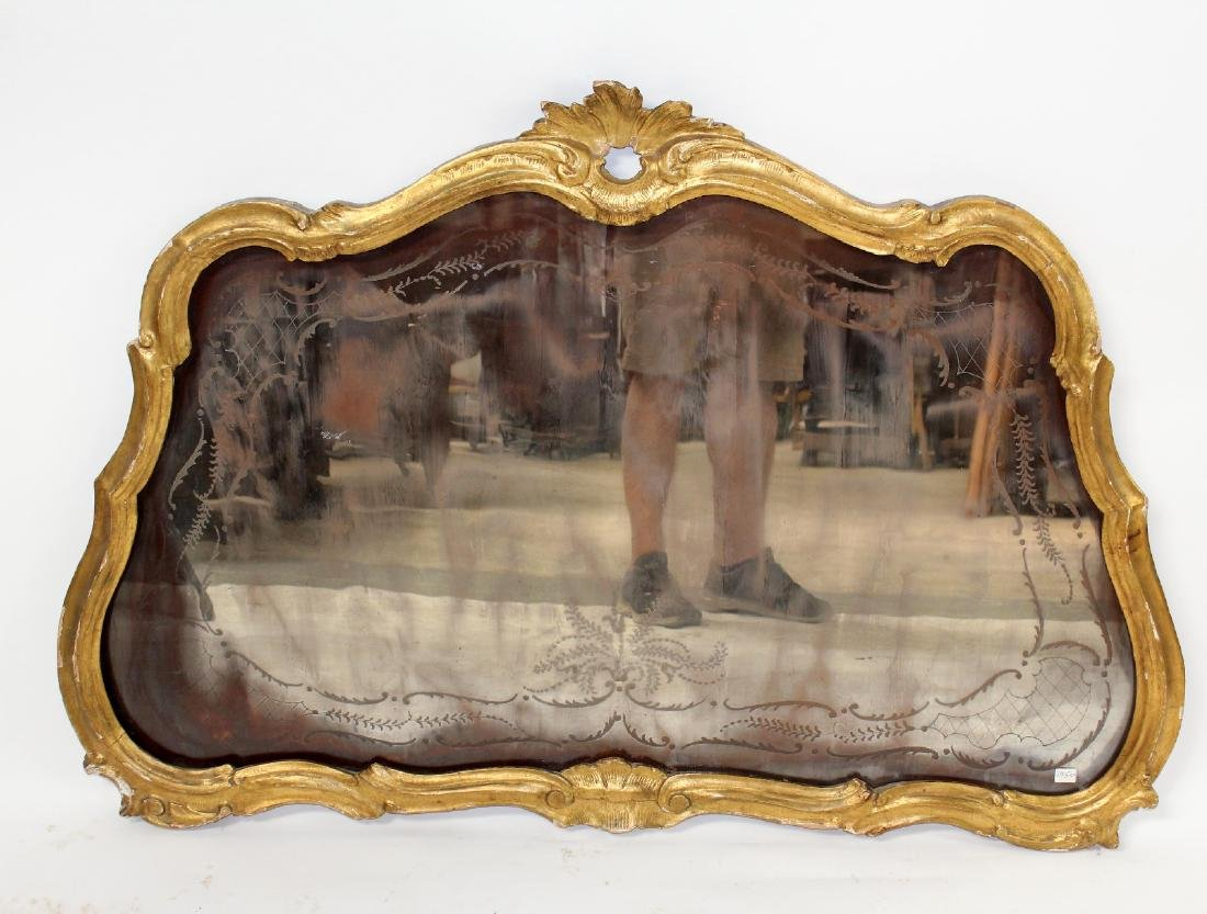 French Louis XV gilt framed etched mirror - 3