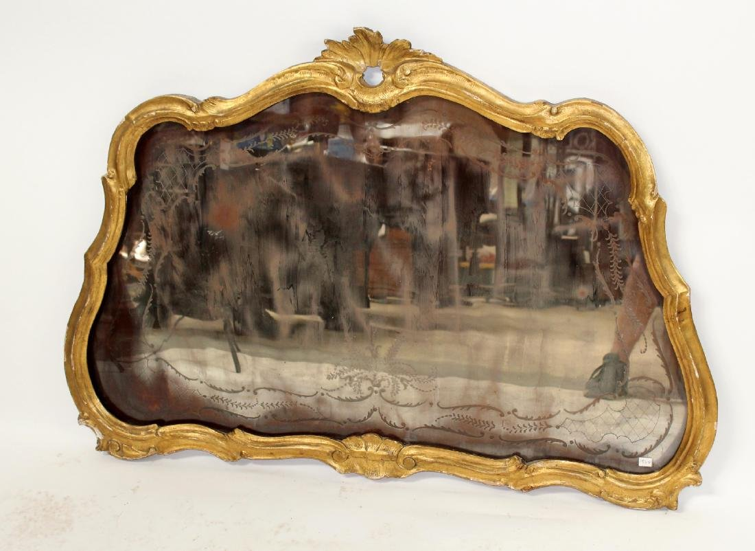 French Louis XV gilt framed etched mirror - 4