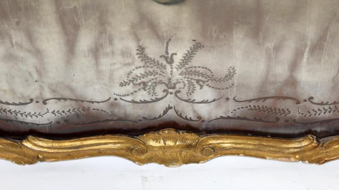 French Louis XV gilt framed etched mirror - 6