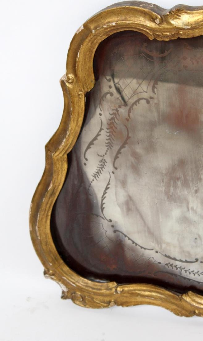 French Louis XV gilt framed etched mirror - 7