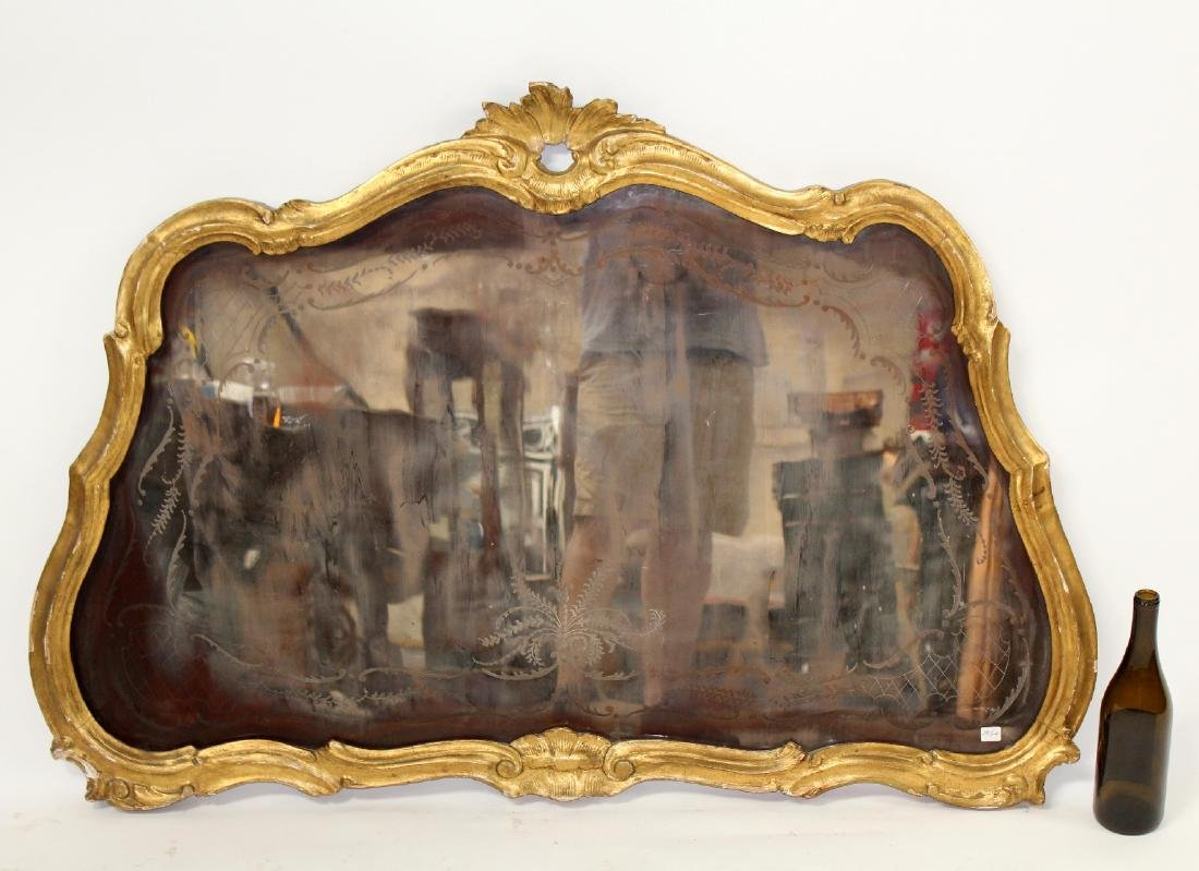 French Louis XV gilt framed etched mirror - 8