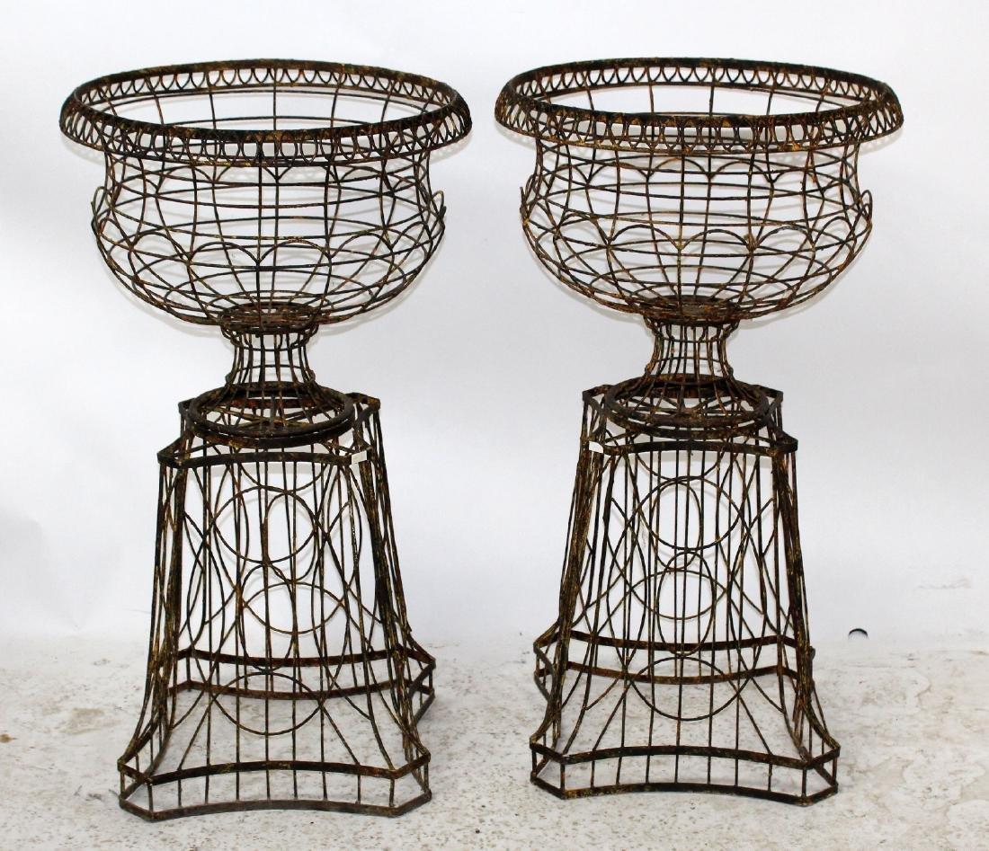 Pair wire urn form garden planters