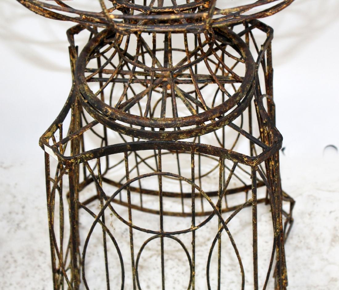 Pair wire urn form garden planters - 2