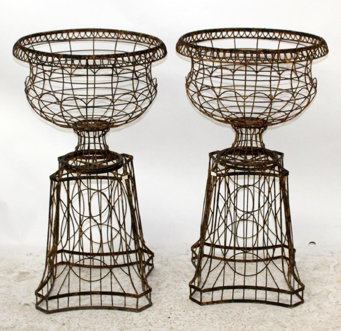 Pair wire urn form garden planters - 3