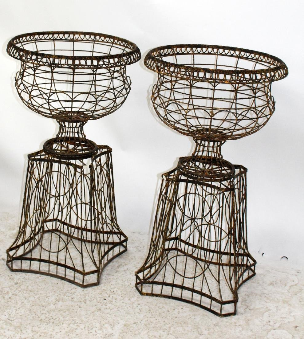 Pair wire urn form garden planters - 4