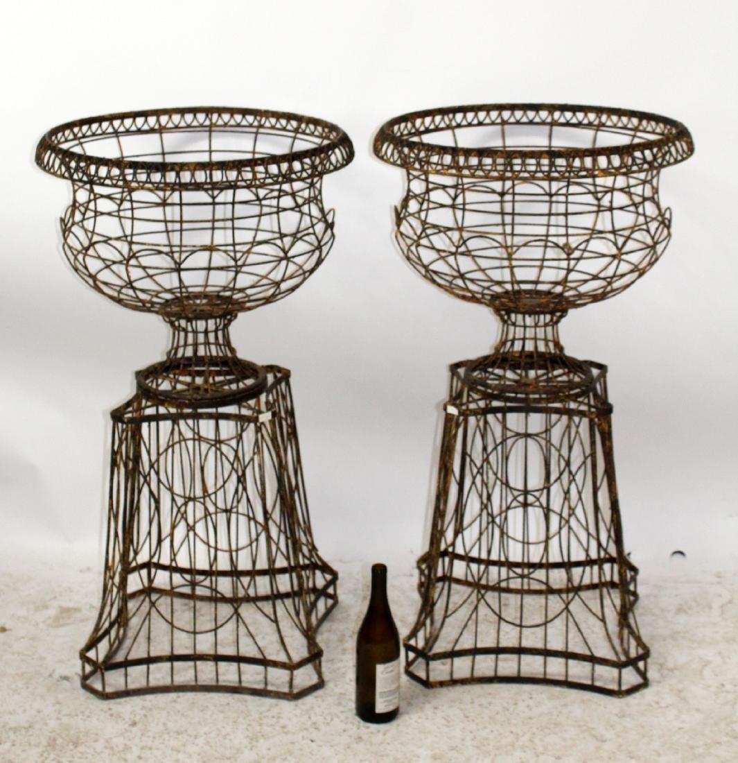Pair wire urn form garden planters - 5