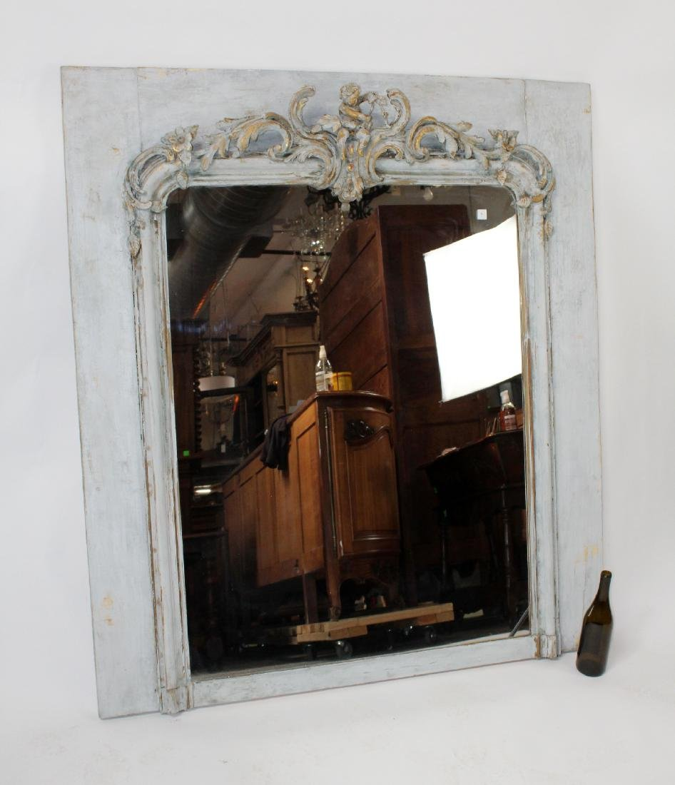 French painted trumeau mirror with cherub - 6