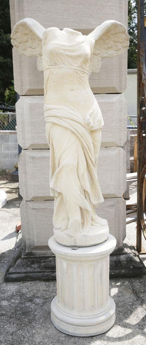 Cast stone winged victory garden statue
