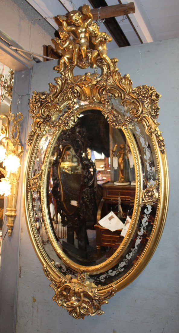 Grand scale French gilt oval parclose mirror w/ cherubs - 4