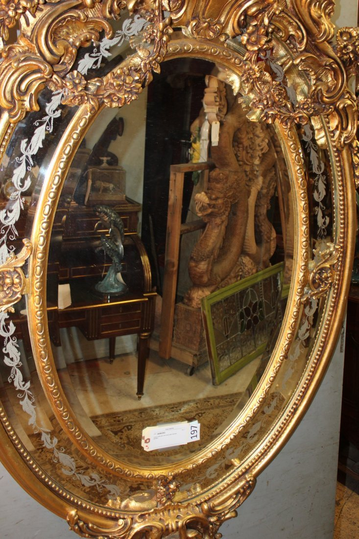 Grand scale French gilt oval parclose mirror w/ cherubs - 5