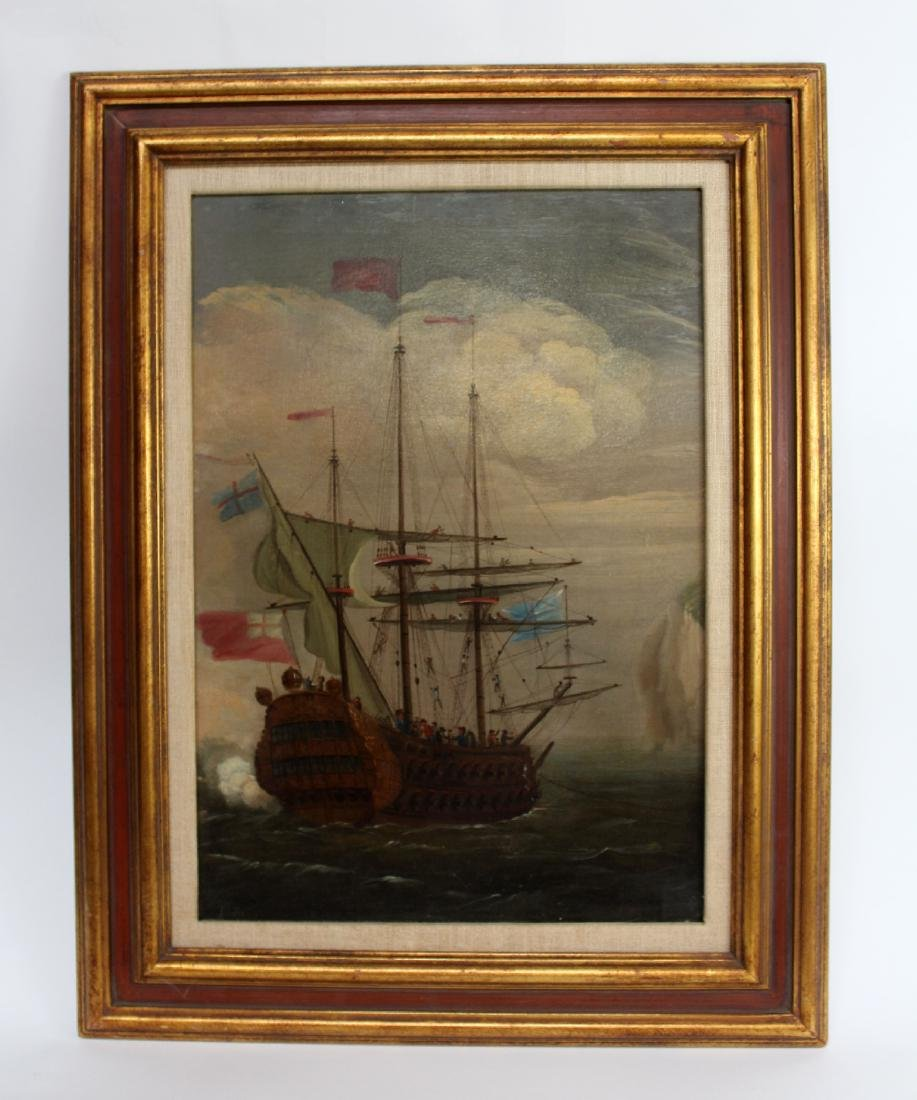 English oil on canvas maritime scene